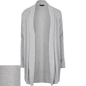 Light grey waffle texture longline cardigan