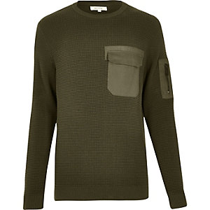 Khaki military knitted sweater