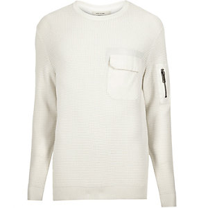 Cream knitted pocket front sweater