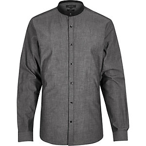 Grey chambray grandad slim shirt