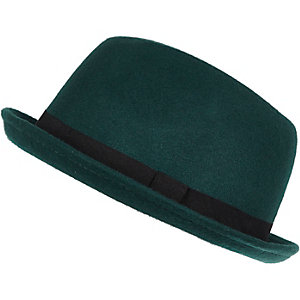 Green felt trilby hat