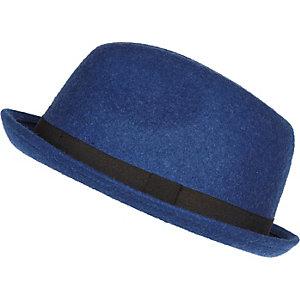Blue felt trilby hat