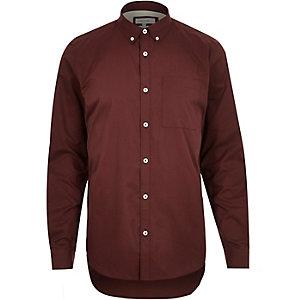 Dark red twill button down collar shirt