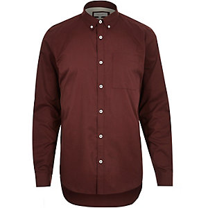 Dark red twill button down collar shirt