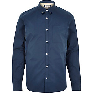 Blue twill button down collar shirt
