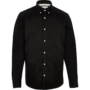 Black twill button down collar shirt