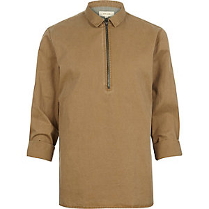 Brown zip-up utility shirt