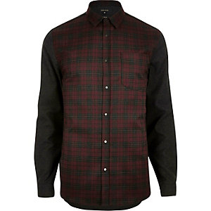 Dark red check contrast sleeve shirt