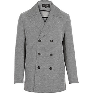 Grey smart double breasted pea coat