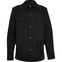 Black four pocket military coat