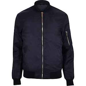 Navy blue zip sleeve bomber jacket