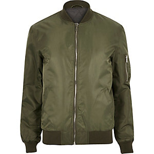 Khaki green zip sleeve bomber jacket