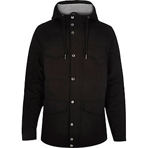 Black padded four pocket coat