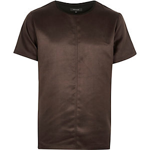 Brown faux suede t-shirt