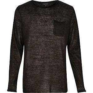Black pocket long sleeve top