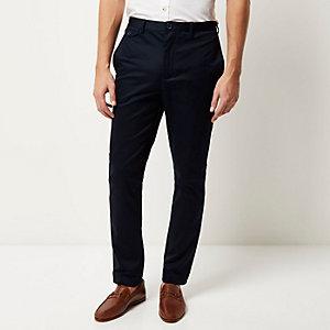 Navy smart slim trousers