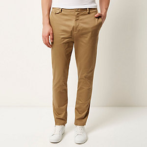 Tan smart slim chino trousers