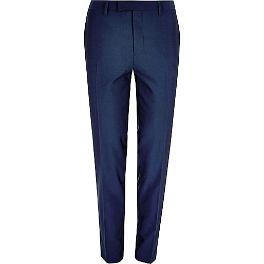 Bright blue skinny suit pants