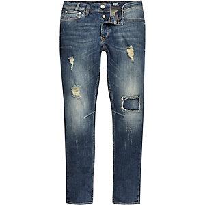 Mid blue wash ripped Sid skinny stretch jeans