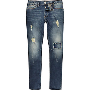 Mid blue wash ripped Sid skinny stretch jeans