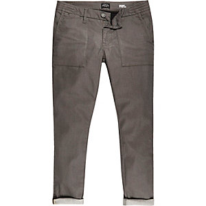 Brown turn-up Sid skinny stretch jeans