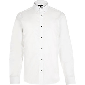 White smart metal button slim shirt