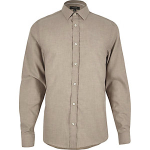 Beige herringbone slim shirt