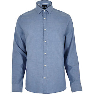 Blue herringbone slim shirt