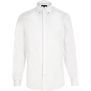 White smart stud collar slim shirt