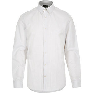 White stripe slim work shirt