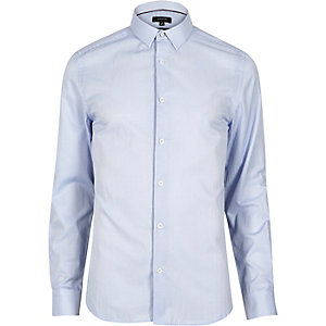 Blue smart fine stripe skinny shirt