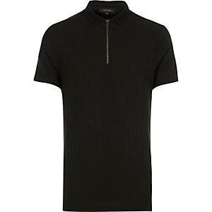 Black chunky ribbed zip neck polo shirt