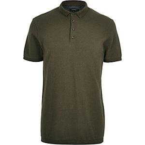 Khaki green textured polo shirt