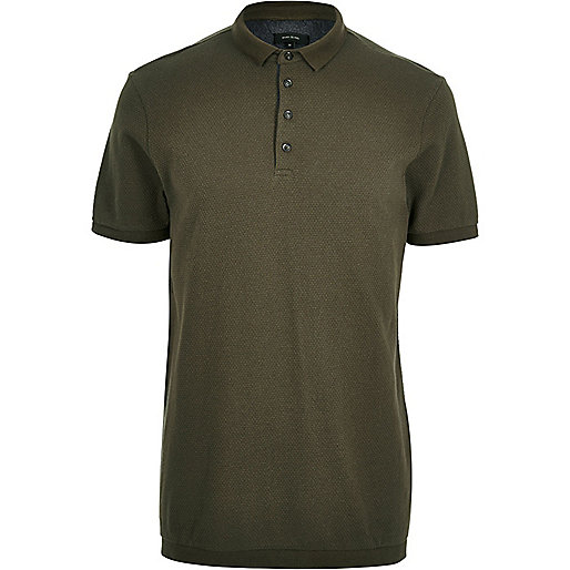 Khaki green textured polo shirt