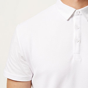 White textured front polo shirt