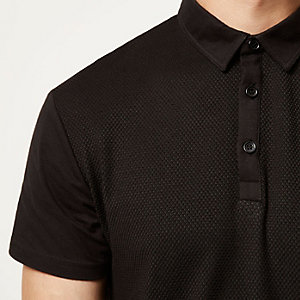 Black textured front polo shirt