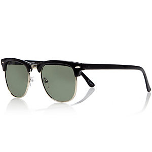 Black branded flat top sunglasses