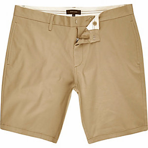Tan skinny chino shorts