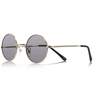 Silver tone small round sunglasses