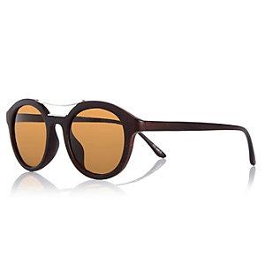 Black wood round sunglasses