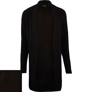 Black waffle texture longline cardigan