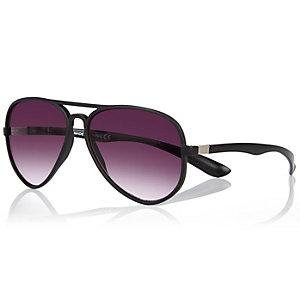 Black rubber aviator-style sunglasses