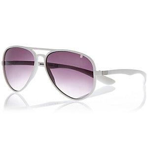 White rubber aviator-style sunglasses