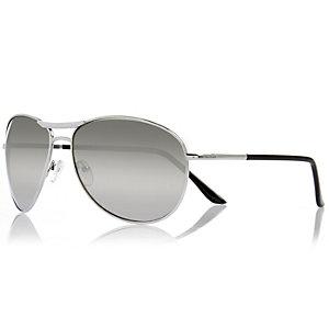 Silver tone aviator-style sunglasses
