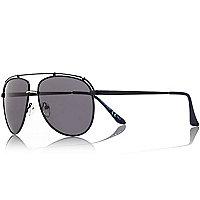 Blue aviator-style sunglasses