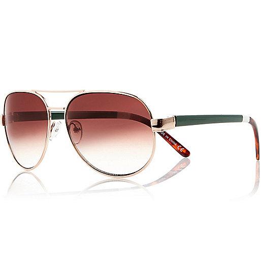 Gold tone green arm aviator-style sunglasses