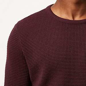 Dark red waffle long sleeve jumper