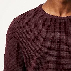 Dark red waffle long sleeve jumper