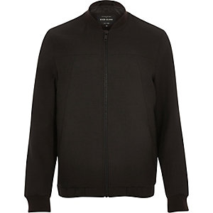 Dark brown smart tailored bomber jacket