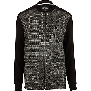 Black herringbone bomber jacket